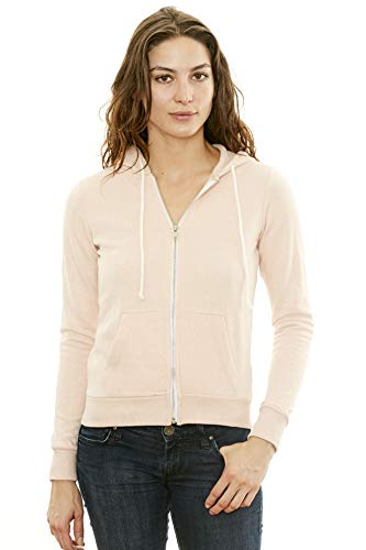 Women's Hooded Sweatshirt - Traditional Fit Soft Light Fleece Zip Up Hoodie - by NYA (XX-Large, Baby Pink)