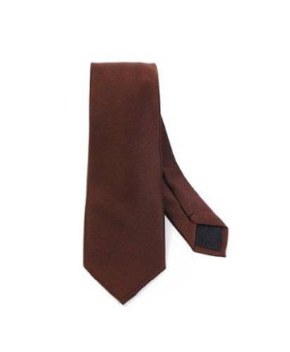 Modern Trendy Slim Polyester Men's Neckties Solid Neck Tie 22 Colors (Brown)