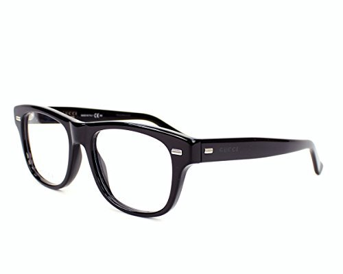 Gucci Men's Optical Frame Acetate Black Frame/Transparent Lens Non-Polarized Glasses 50 - Gucci Transparent