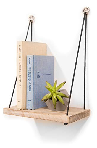 (Gravy Goods Set of 2 Hanging Wood Shelves, Rustic Modern in Gray & White Washed Wood Finish, Contemporary Design)