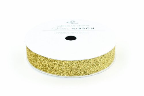 American Crafts Ribbon Glitter Solid Gold 5/8