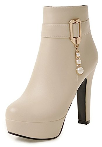 IDIFU Womens Dressy Round Toe Zip Up High Chunky Heel Ankle Boots With Platform Beige DS8NW