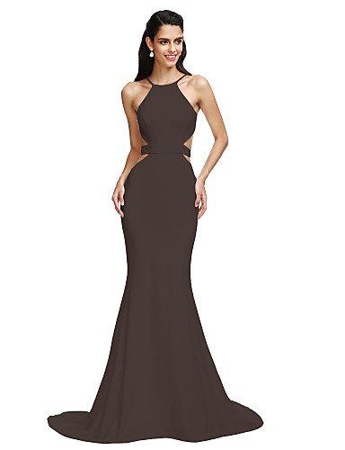 Formale Mermaid HY Prom Da Sera Abito Corte Tromba Con Treno Chocolate Jersey Nastro Spaghetti amp;OB Cinghie Anta gg5w8qp