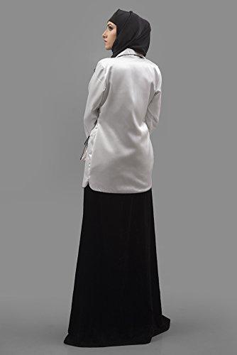 Abaya Chaqueta Fashion Mujer Blanco Kolkozy bolsillo Para Color 6qwzq5AE