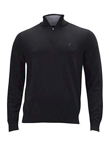 (Nautica Men's Long Sleeve 1/4 Zip Sweater, True Black Small)