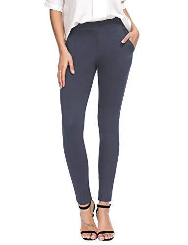 Bamans Women's Skinny Leg Work Pull on Slim Stretch Yoga Dress Pants w/Tummy Control (Gray Light, X-Large)
