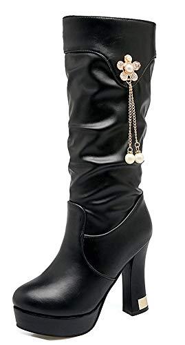 Cuissardes Bloc Strass À Talon Femme Haute Noir Haut Botte Belle Tige Aisun w8zqIO