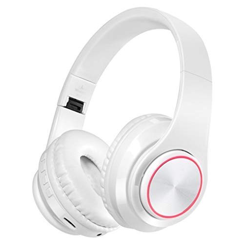 S Waterproof Earbuds Over-Ear Bluetooth Headphones-4.2 Noise Cancelling Sports Headsets|6 Hrs Comfortable Earmuffs|LED Bass Driven Stereo Sound,for Running/Fitness (Color : White)
