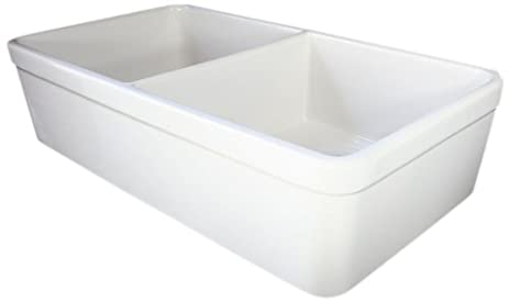 alfi brand ab512 32inch double bowl fireclay farmhouse kitchen sink with 1 3