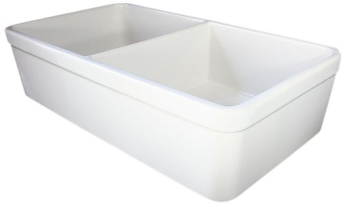 ALFI brand AB512 32-Inch  Double Bowl Fireclay Farmhouse Kitchen Sink with 1 3/4-Inch  Lip, White Double Bowl Fireclay Kitchen