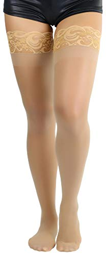 ToBeInStyle Women's Lycra Stay Up Lace Thigh High - Nude - OSP