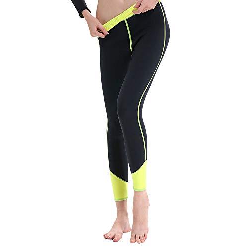 GoldFin Women's Wetsuit Pants 2mm Neoprene Pants, Thick Warm Swimming Diving Snokeling Scuba Surf Canoe Pants, BS001 (Black+Yellow, XX-Large)