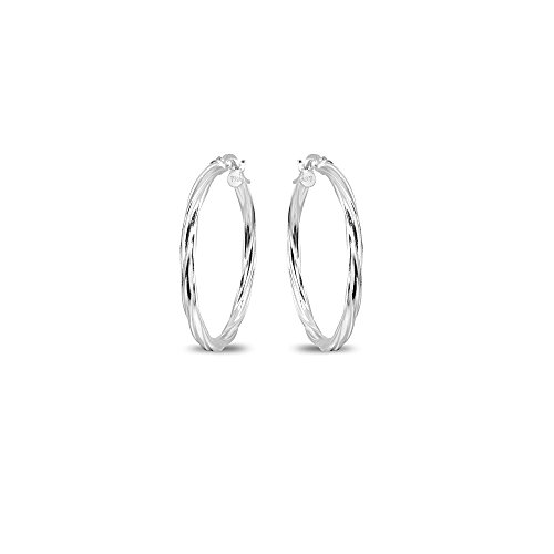 Sterling Silver 2x25mm Twist Round Small Hoop Earrings for Women Girls, 1 Inch (Mm Round 25 Hoop)