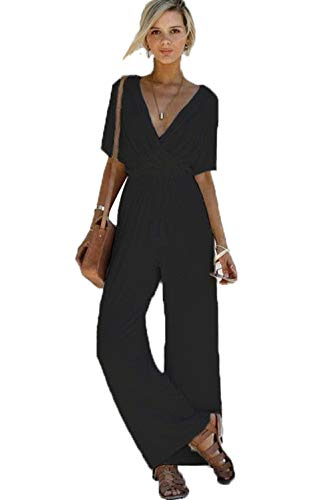 FairyMei Womens Casual Solid Short Sleeve V Neck Wide Legs Long Pant Jumpsuits Rompers with Pockets (Small, Black-1) (Wrap Jumpsuit)