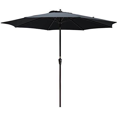 Sundale Outdoor 10FT Market Umbrella Table Umbrella with Crank and Auto Tilt, Aluminum Ribs, Polyester Canopy Shade for Patio, Garden, Deck, Backyard, Pool, Black