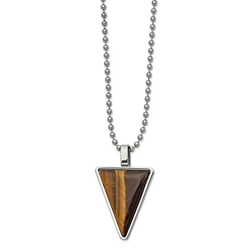 (Jewels By Lux Stainless Steel Polished with Tiger's Eye Triangle 24In Necklace )