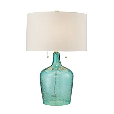 Dimond Lighting D2689 Hatteras Hammered Glass Table Lamp, Seabreeze Blue