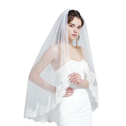Wedding Bridal Veil with Comb 1 Tier Lace Applique Edge Fingertip Length 41