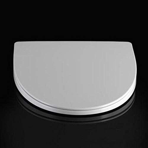 Yxsd スロー閉じるミュート厚み付け尿素 - ホルムアルデヒド樹脂のトイレシートカバー、ホワイト、44-48 * 38.5センチメートル付き便座V型トイレのふた (Color : White, Size : 44-48*38.5cm)