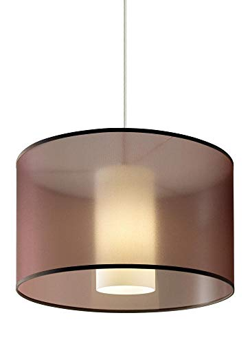 Tech Lighting 700TDDLNPWNS-PSUNV Dillon - Two Light Line-Voltage Pendant, Satin Nickel Finish with Brown Glass