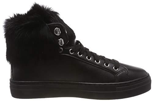A 00a Pollini Pon Sneaker Collo Fur steel Schwarz Donna Alto black wwvtfB