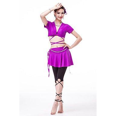 RIVERbleu-L  Tanz-Outfit wudaofu austat tun Gen Polyester Rock Haut Taille Ceinture Manches Courtes Bas Pantalon pour Femme