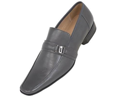 Amali Mens Grey Smooth Moc Toe Step In Loafer Dress Shoe: Style 8001-011 - Classic Moc Slip