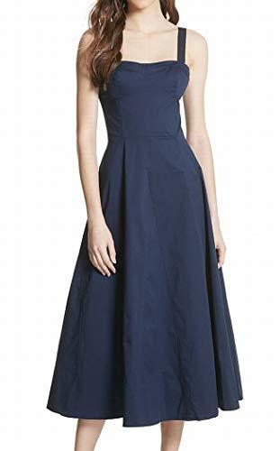 (Joie Womens Stretch-Twill Smocked Back A-Line Dress Blue 8)