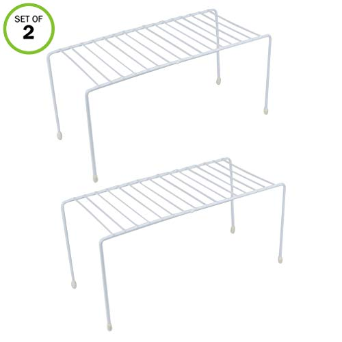 Evelots Kitchen Cabinet/Counter Shelf-Double Your Space-Sturdy Metal-Set of 2 (Metal Plate For Kitchen Cabinet)