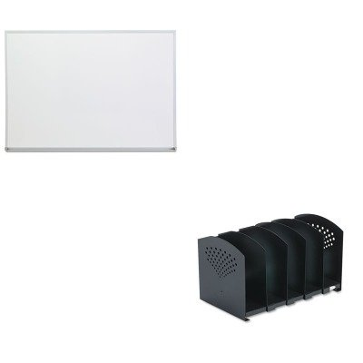 Five Section Adjustable Book Rack (KITSAF3116BLUNV43624 - Value Kit - Safco Five-Section Adjustable Book Rack (SAF3116BL) and Universal Dry Erase Board (UNV43624))