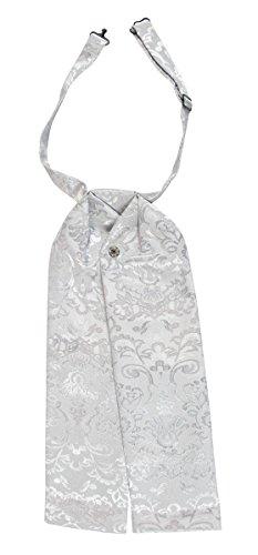 (Historical Emporium Men's Satin Jacquard Puff Tie Silver)