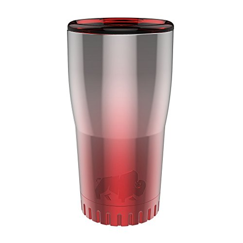 (Silver Buffalo NL111595 Ombré Stainless Steel Travel Tumbler, 20-Ounces, Red)