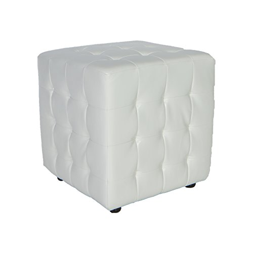 Cortesi Home CH-OT258500 Izzo White Cube Ottoman (For Sale Footstools Upholstered)