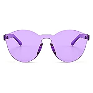 Armear Oversized One Piece Rimless Tinted Sunglasses Clear Colored Lenses (Purple, 58)