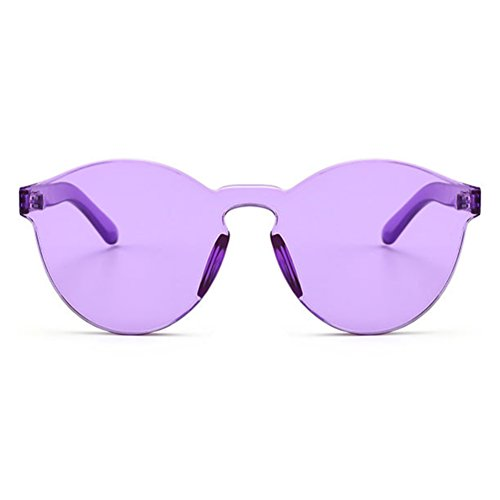 Armear Oversized One Piece Rimless Purple Tinted Sunglasses Clear Colored Lens 58mm (Purple Sunglasses)