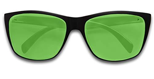 KZ Gear - The Amazon FLOATING SUNGLASSES - Large Matte Black Frame - Classic Modern Shaped - Green Polarized UV400 Lenses