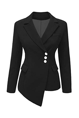 Offlce Bavero Tailleur Skinny Slim Nero Monocromo Fit Donna Da Suit Irregular Autunno Leisure Lunga Single Breasted Outerwear Giacca Manica ZqAtzx5w
