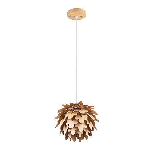 (MAYKKE Coni Wooden Pendant Lamp Modern & Contemporary Hanging Ceiling Lighting with Adjustable Cord Natural Wood Finish, MDB1080101)