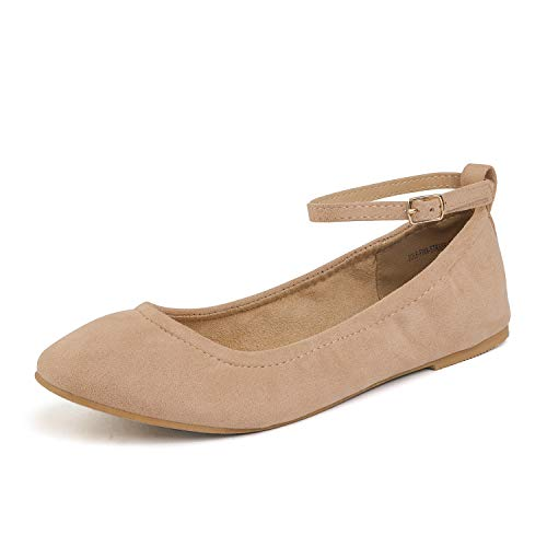 (DREAM PAIRS Women's Sole-Fina-Straps Nude Suede Ankle Straps Ballet Flats Shoes - 7.5 B(M) US)
