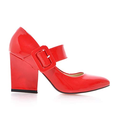 paisse Femme Mary Chaussures Boucle Talons Ceinture Jane Rouge Hauts pais Stiletto Bloc Pompes Bf8xqRBUw