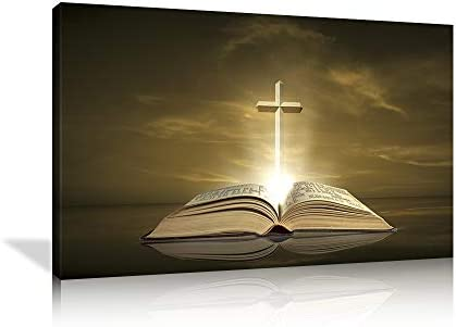 Bible and Cross of Jesus Wall Art Christ Poster God Canvas Prints Home Decor