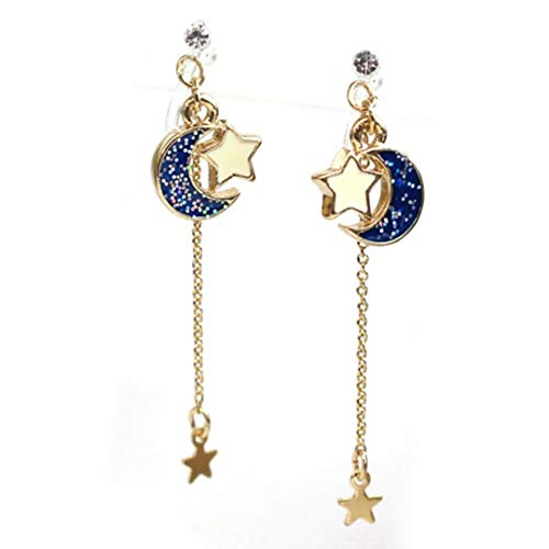 Sailor Moon Earrings Blue Dangles Pink Luna Artemis Pearl Crystal Jewel Sailor Scouts Anime Kawaii Star Ear Studs Usagi Heart Topaz Cat Kitten Cosplay Jewelry Sakura (Blue Dangles) ()