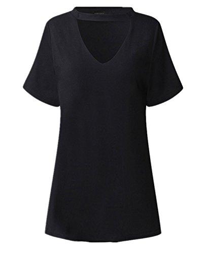 StyleDome Mujer Camiseta Elegante Mangas Cortas Blusa Cuello Pico Noche Oficina Casual Negro