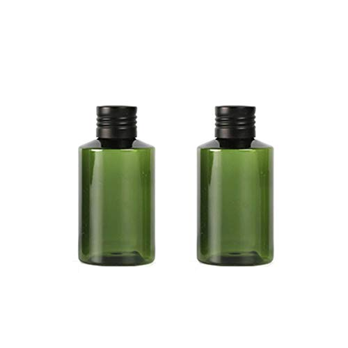 (2PCS 100ml/3.4oz Empty Refillable Dark Green Plastic Aluminum Screw Cap Bottle Cosmetic Dispenser Container Jar Vial Pot Holder with Orifice Reducer for Essential oil Lotion Emollient Water Toner)