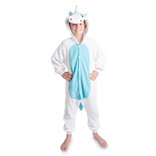 Emolly Fashion Kids Animal Unicorn Pajama Onesie - Soft and Comfortable with Pockets (4, Blue/WHT)
