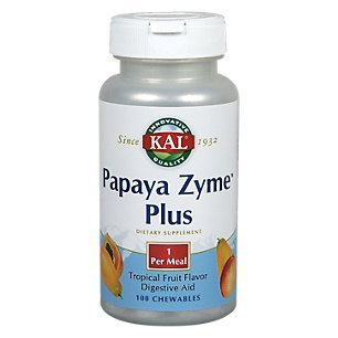 Kal 200 Mg Papaya Zyme Plus, Tropical Fruit, 100 (Papaya Enzyme 100 Chew)