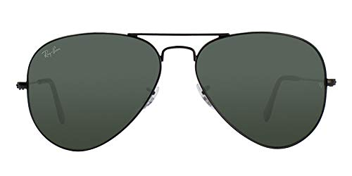 ec406acd35d Image Unavailable. Image not available for. Color  Ray Ban RB3025 L2823  58mm Black w  Green Lens Aviator ...