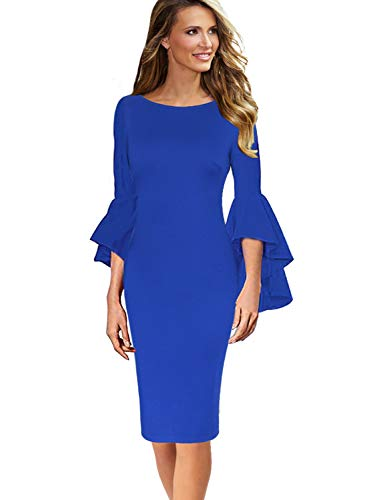 VFSHOW Womens Ruffle Bell Sleeves Business Cocktail Party Sheath Dress 1236 BLU 3XL