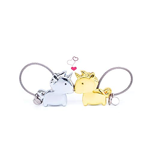 Wandi Couple Keychain, Magnetic Destined Kissing Unicorn Keychain Valentine's Love/Christmas Present (Silver&Gold)