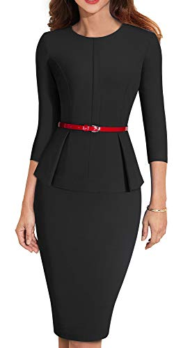 (HOMEYEE Women's 3/4 Sleeve Office Wear Peplum Dress with Belt B473 (10, Black))